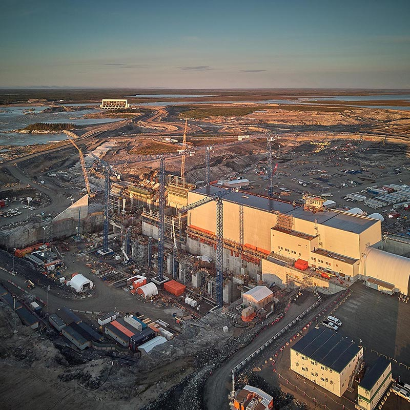 Arial photo of the construction of the Keeyask hydroelectric generating station in northern Manitoba.